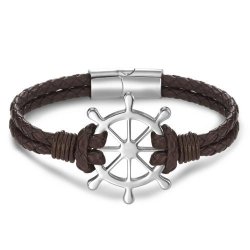 Armband Leder, Edelstahl Steuerrad 21 cm Ø35 mm