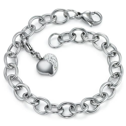 Armband Edelstahl Zirkonia mit Charm Herz, beliebig verstellbar 19 cm Ø7 mm