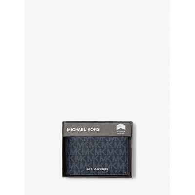 Michael Kors Harrison Logo Billfold Wallet With Passcase Blue One Size