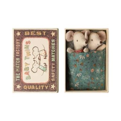 Maileg - Twin Mice In Matchbox Toy - cotton | cardboard - Green/Pink/Red