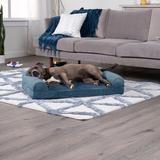 FurHaven Faux Fur Orthopedic Bolster Dog Bed w/Removable Cover, Harbor Blue, Large