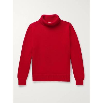 Goodwood Merino Wool Rollneck Sweater - Red - CONNOLLY Knitwear