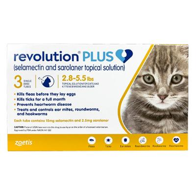 Revolution Plus For Kittens And Small Cats 2.8-5.5lbs (Yellow) 3 Pack