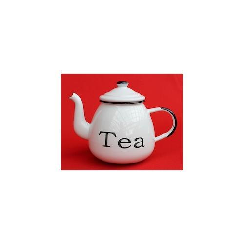 Teekanne 582AB TEA Weiß emailliert 14 cm Wasserkanne Kanne Kaffeekanne Emaille