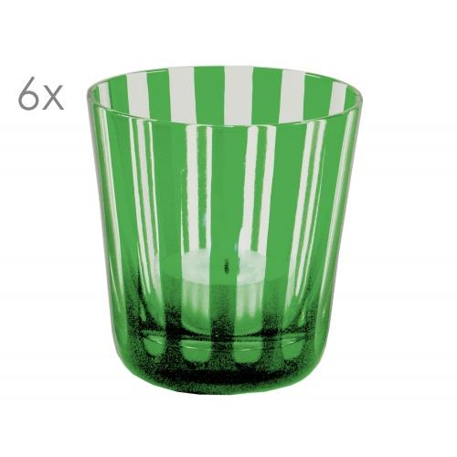 SALE 6er Set Kristallgläser Ela, grün, handgeschliffenes Glas , Höhe 8 cm, Füllmenge 0,14 Liter