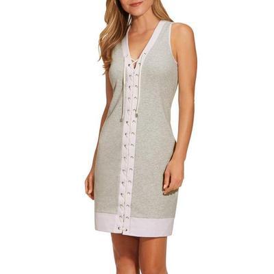 Boston Proper - Lace-Up Tank Dress - Gray/white - Xx Small