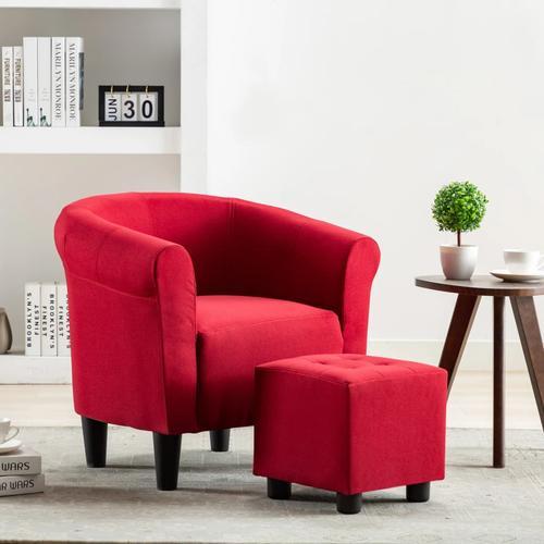 vidaXL 2-tlg. Sessel und Hocker Set Weinrot Stoff