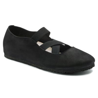 BIRKENSTOCK Santa Ana Nubuck Leather Black Slip-Ons