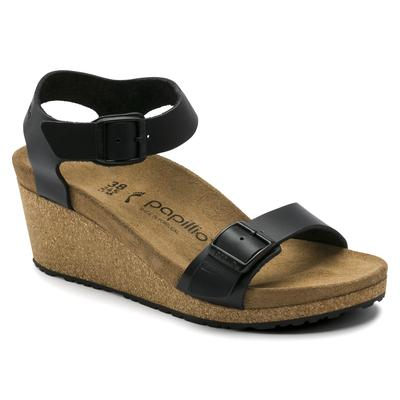BIRKENSTOCK Papillio Soley Natural Leather Black Back-Strap Sandals