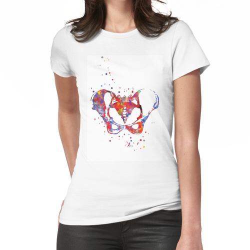Weibliche Knochen des Beckens, weibliches Becken, Knochen, Aquarellbecken, Becken Frauen T-Shirt