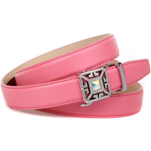 Anthoni Crown Ledergürtel, in Flamingo rot mit Kristall-Glas-Schnalle rosa Damen Ledergürtel Gürtel Accessoires