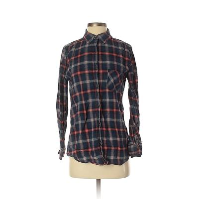 I Love H81 Long Sleeve Button Down Shirt: Blue Print Tops – Size Small