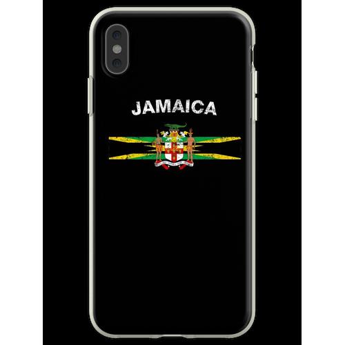 Jamaikanisches Flaggen-Hemd - jamaikanisches Emblem u. Jamaika-Flag Flexible Hülle für iPhone XS Max