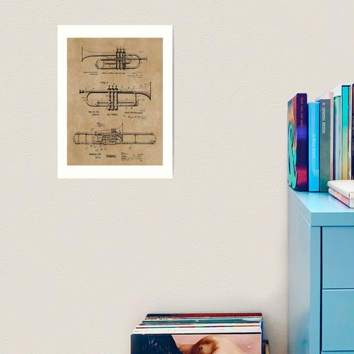 Trompete, Kornett, Posaune Vintage Patent Drucke Kunstdruck