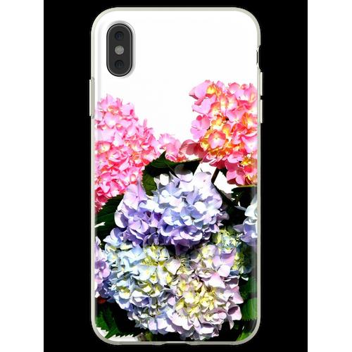 Rosa, lila und blaue Hortensien in Kristallvase Flexible Hülle für iPhone XS Max