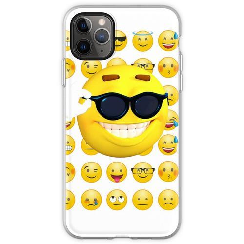Emoji Sonnenbrille, Emoji lustig, Emoji Sonnenbrille und Sonne Flexible Hülle für iPhone 11 Pro Max