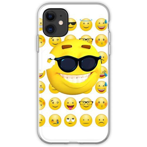 Emoji Sonnenbrille, Emoji lustig, Emoji Sonnenbrille und Sonne Flexible Hülle für iPhone 11