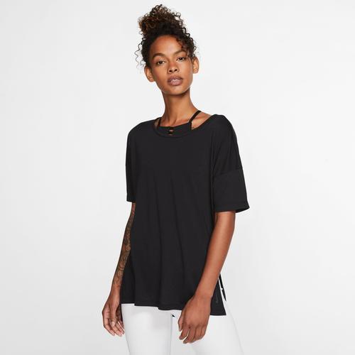 Nike Yogashirt Dri-FIT Short-Sleeve Yoga Training Top schwarz Damen