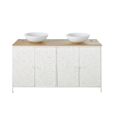Meuble double vasque 4 portes en manguier et métal blanc sculpté
