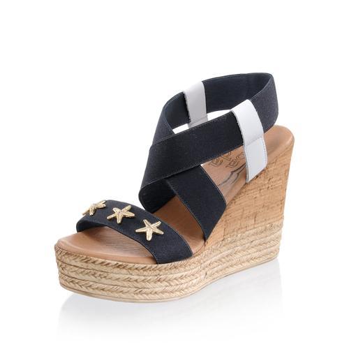 Alba Moda, Sandalette aus elastischem Textil, blau