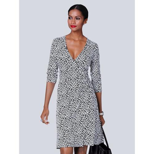 Alba Moda, Kleid mit Schwalben-Print, schwarz