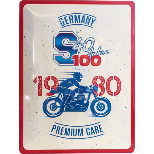 S100 Nostalgie-Schild 40 Jahre Blechschild, blau