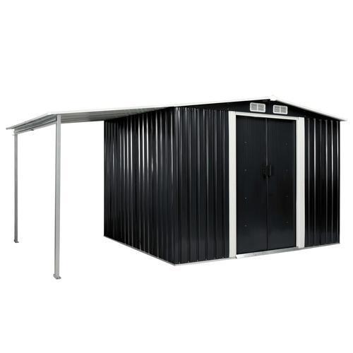 vidaXL Gerätehaus mit Schiebetüren Anthrazit 386×205×178 cm Stahl