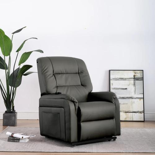 vidaXL Elektrischer TV-Sessel mit Aufstehhilfe Grau Kunstleder