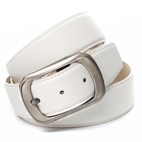 Anthoni Crown Ledergürtel, mit matter Schließe, bombiert weiß Damen Ledergürtel Gürtel Accessoires