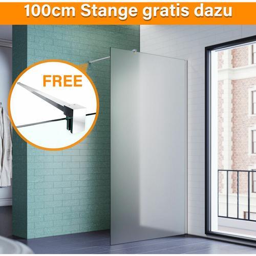 SONNI 120x200 cm Walk-In Dusche mit Stabilisator aus 8 mm Vollsatiniert Glas inkl. Nanobeschichtung