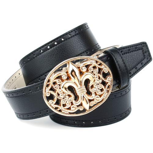 Anthoni Crown Ledergürtel, mit französischer Lilie und Lochmuster schwarz Damen Ledergürtel Gürtel Accessoires