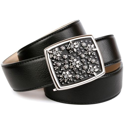 Anthoni Crown Ledergürtel, Jeansgürtel mit Handmade Glasur-Schließe schwarz Damen Ledergürtel Gürtel Accessoires