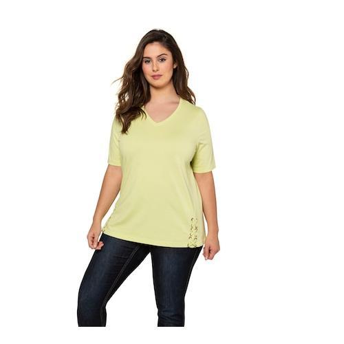 Große Größen T-Shirt Damen (Größe 54 56, zitronengras) | Ulla Popken T-Shirts | Baumwolle, V-Ausschnitt