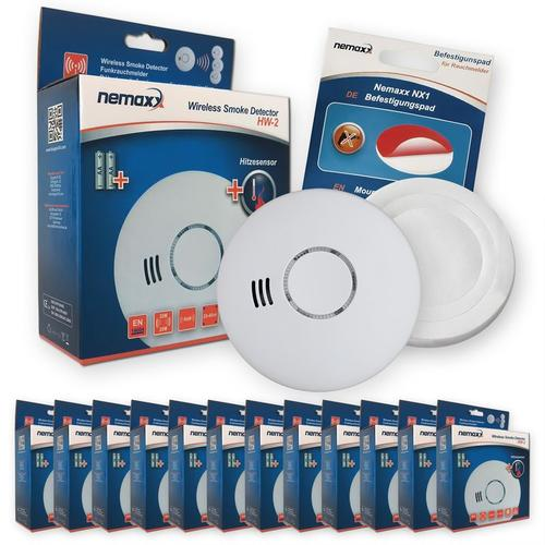 12x Nemaxx HW-2 Funkrauchmelder Rauchmelder Hitzemelder mit kombiniertem Rauch- und Thermosensor