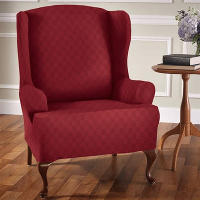 Newport Stretch Slipcover Wing Chair, Wing Chair, Tan