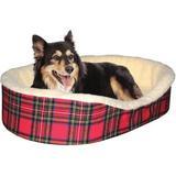Dog Bed King USA Cuddler Bolster Dog Bed w/Removable Cover, Plaid, Medium