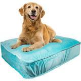 Bessie + Barnie Luxury Extra Plush Faux Fur Plain Print Rectangle Dog & Cat Bed, Aquamarine, Small
