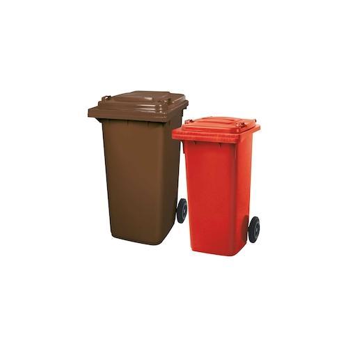 BRB Set mit 1x DIN Mülltonne 120 Liter rot und 1x DIN Mülltonne 240 Liter braun