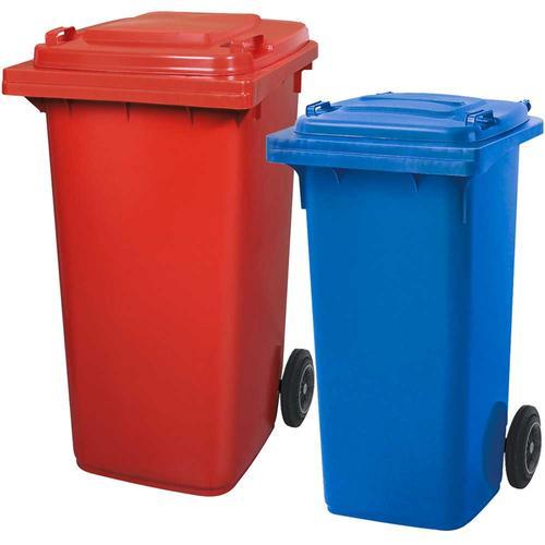 BRB Set mit 1x DIN Mülltonne 120 Liter blau und 1x DIN Mülltonne 240 Liter rot