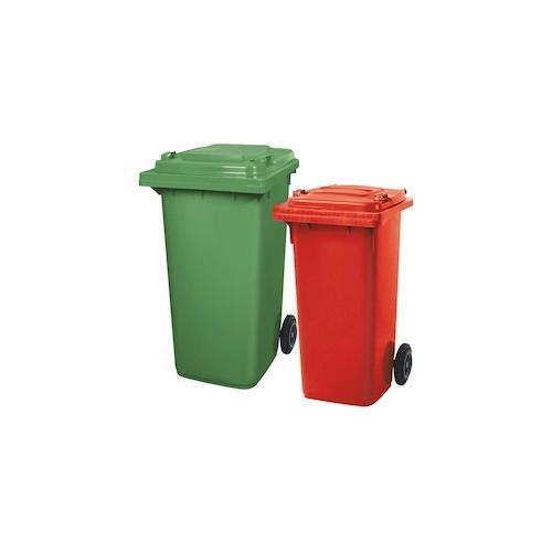BRB Set mit 1x DIN Mülltonne 120 Liter rot und 1x DIN Mülltonne 240 Liter grün