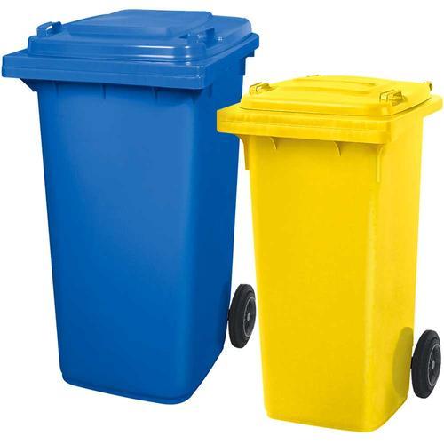 BRB Set mit 1x DIN Mülltonne 120 Liter gelb und 1x DIN Mülltonne 240 Liter blau