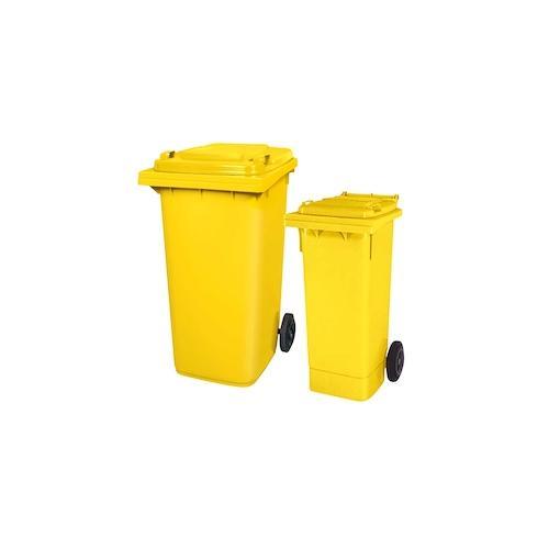 BRB Set mit 1x DIN Mülltonne 80 Liter gelb und 1x DIN Mülltonne 240 Liter gelb