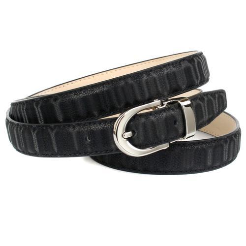 Anthoni Crown Ledergürtel, Femininer Gürtel aus innovativem Leder in Streifen-Optik schwarz Damen Ledergürtel Accessoires