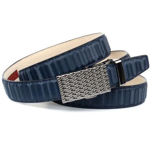 Anthoni Crown Ledergürtel, Automatik Gürtel mit gemusterter Schließe blau Damen Ledergürtel Accessoires