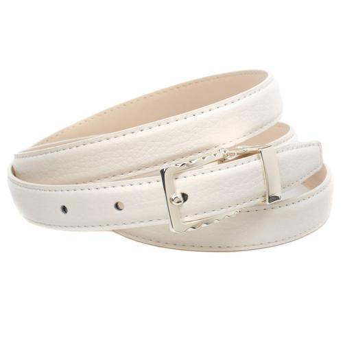 Anthoni Crown Ledergürtel, in schmaler Form und gemusterter Schließe weiß Damen Ledergürtel Gürtel Accessoires