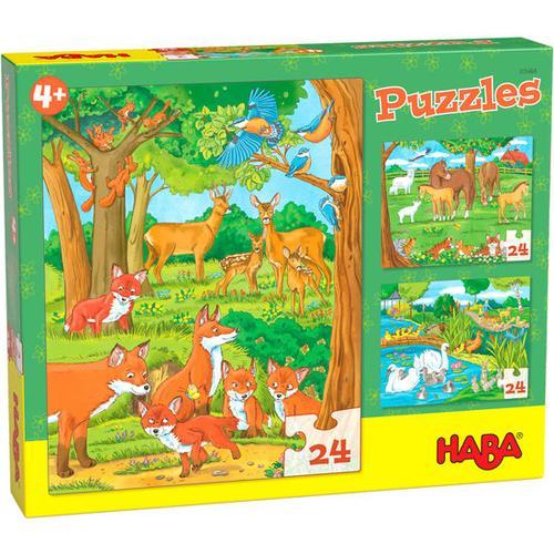 HABA Puzzles Tierfamilien, bunt