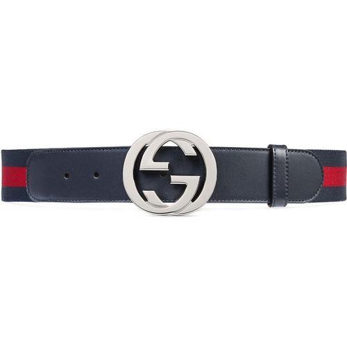 Gucci Gürtel mit Webstreifen und GG Schnalle