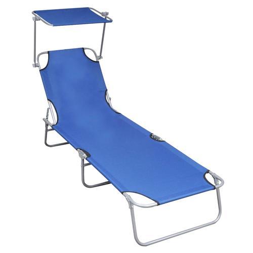 vidaXL Klappliege mit Sonnenschutz Blau Aluminium