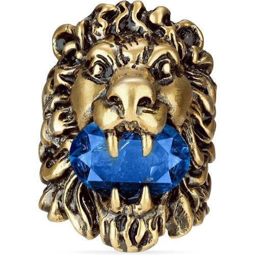 Gucci Löwenkopfring mit blauem Kristall