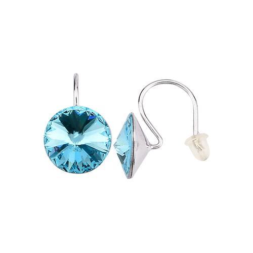 2tlg. Ohrschmuck-Set mit Kristallen KLiNGEL Blau/Weiß